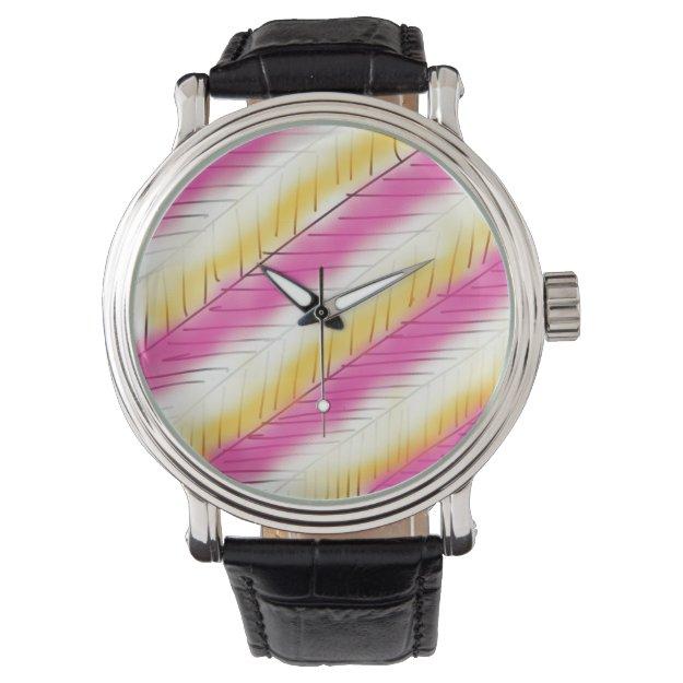 Cool Pink Yellow Modern Stripes Pattern Watch