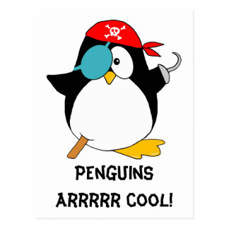 Cool Pirate Penguin Postcard