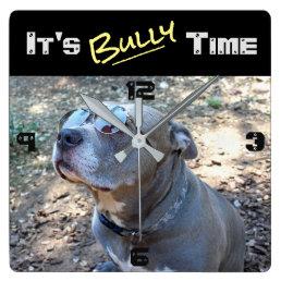 Cool Pitbull Bully Time Wall Clock