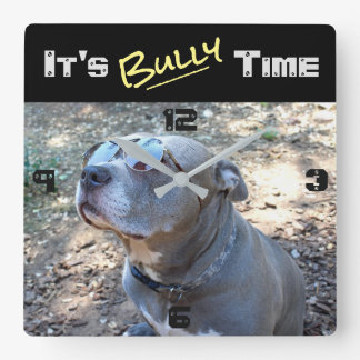 Cool Pitbull Bully Time Wall Clock