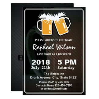 Cool Pixel Beers & Twill Metal Bachelor Party Card