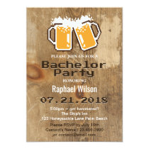 Cool Pixel Beers & Wood Bachelor Party Invitation