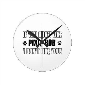 Cool PIXIE-BOB cat designs Round Wall Clocks