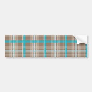 Cool Plaid Modern Pattern Gifts Blue Beige Bumper Sticker