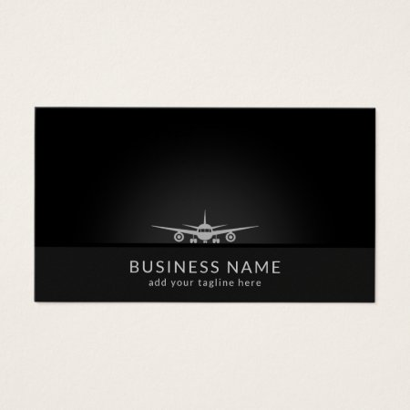 Simple White Air Plane Silhouette Landing on the Black Tarmac Pilot Aviation Business Cards Template