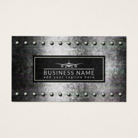 Cool Airplane Silhouette on a Black and Gray Distressed Rough Steel Metal Background  with Rivets Professional Pilot Business Cards Template