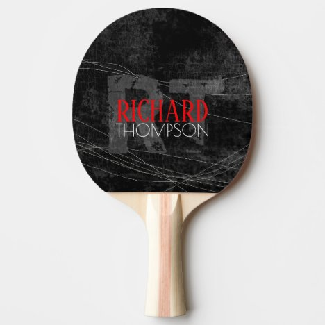 cool player monogram (name + initials) on black ping pong paddle