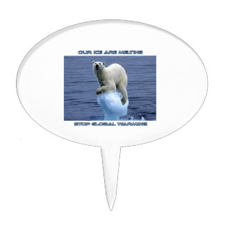 cool POLAR BEAR AND GLOBAL WARMING designs Cake Topper