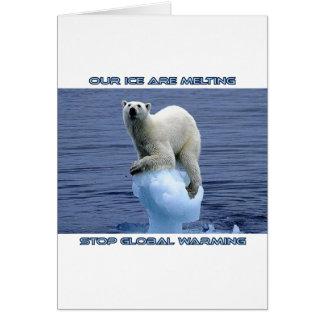 cool POLAR BEAR AND GLOBAL WARMING designs Card