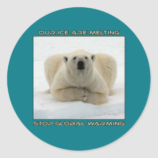 cool POLAR BEAR AND GLOBAL WARMING designs Classic Round Sticker