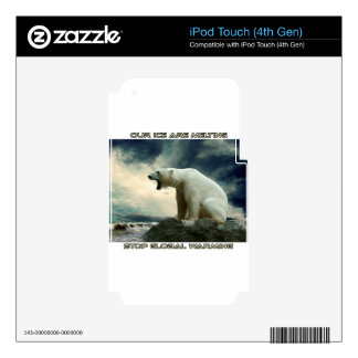 cool POLAR BEAR AND GLOBAL WARMING designs Decals For iPod Touch 4G