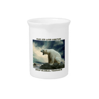 cool POLAR BEAR AND GLOBAL WARMING designs Drink Pitcher