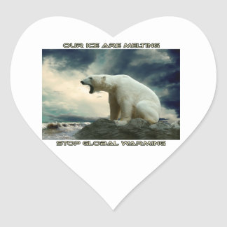 cool POLAR BEAR AND GLOBAL WARMING designs Heart Sticker