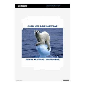 cool POLAR BEAR AND GLOBAL WARMING designs iPad 2 Skins