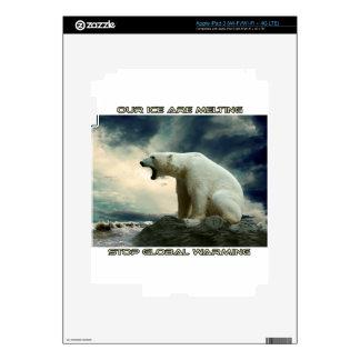 cool POLAR BEAR AND GLOBAL WARMING designs iPad 3 Decal