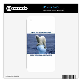 cool POLAR BEAR AND GLOBAL WARMING designs iPhone 4 Decal