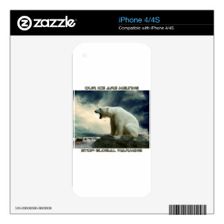 cool POLAR BEAR AND GLOBAL WARMING designs iPhone 4 Skins