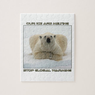 cool POLAR BEAR AND GLOBAL WARMING designs Jigsaw Puzzle