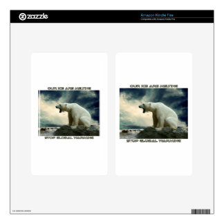 cool POLAR BEAR AND GLOBAL WARMING designs Kindle Fire Decal