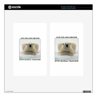 cool POLAR BEAR AND GLOBAL WARMING designs Kindle Fire Skins