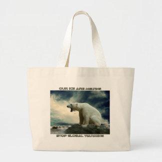 cool POLAR BEAR AND GLOBAL WARMING designs Large Tote Bag