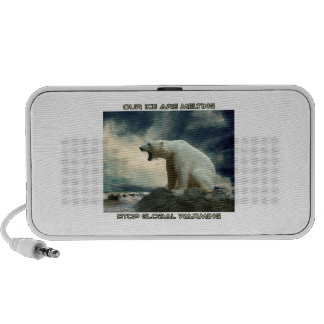 cool POLAR BEAR AND GLOBAL WARMING designs Mini Speakers
