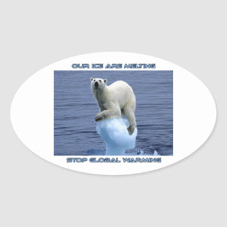 cool POLAR BEAR AND GLOBAL WARMING designs Oval Sticker