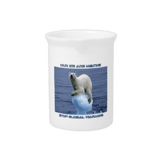 cool POLAR BEAR AND GLOBAL WARMING designs Pitchers