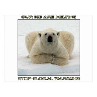 cool POLAR BEAR AND GLOBAL WARMING designs Postcard