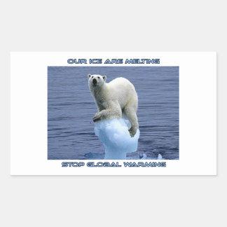 cool POLAR BEAR AND GLOBAL WARMING designs Rectangular Sticker