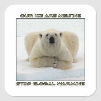 cool POLAR BEAR AND GLOBAL WARMING designs Square Sticker