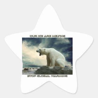 cool POLAR BEAR AND GLOBAL WARMING designs Star Sticker