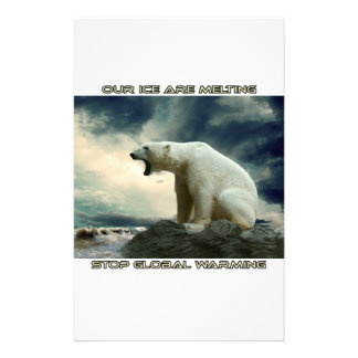 cool POLAR BEAR AND GLOBAL WARMING designs Stationery