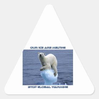 cool POLAR BEAR AND GLOBAL WARMING designs Triangle Sticker