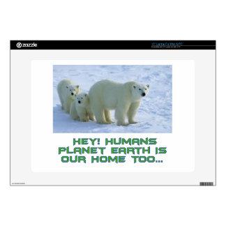 """cool polar bear designs 15"""" laptop skin"""