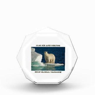 cool Polar Bears against GLOBAL WARMING designs Acrylic Award