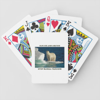 cool Polar Bears against GLOBAL WARMING designs Bicycle Playing Cards