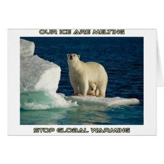 cool Polar Bears against GLOBAL WARMING designs Card