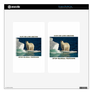cool Polar Bears against GLOBAL WARMING designs Kindle Fire Skin