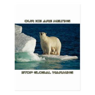 cool Polar Bears against GLOBAL WARMING designs Postcard