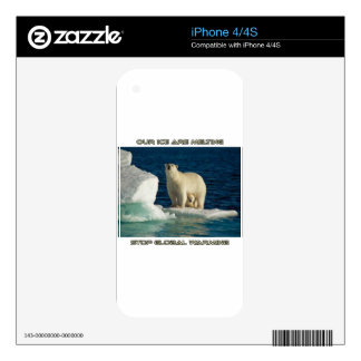 cool Polar Bears against GLOBAL WARMING designs Skin For The iPhone 4