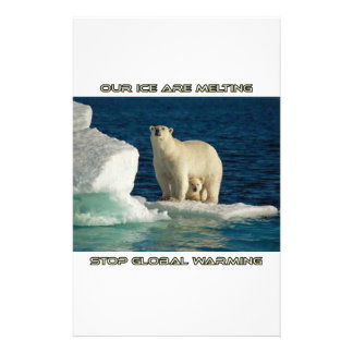 cool Polar Bears against GLOBAL WARMING designs Stationery