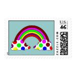 Cool Polka Dot Rainbow Postage Stamp