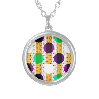 Cool Polka Dots and Stripes Multi Color Gifts Silver Plated Necklace