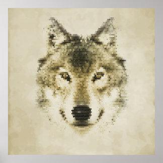 Cool Polygonal Wolf Portrait Illustration Poster