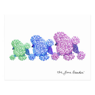 Cool Poodle Trio Beaded Print Postcard