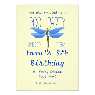 Cool Pool Party Fun Happy Birthday Announcements