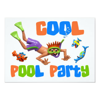"""Cool Pool Party 5"""" X 7"""" Invitation Card"""