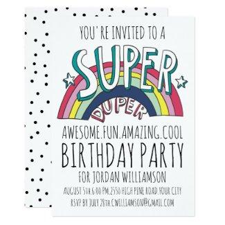 Cool Pop Art Rainbow Any Age Birthday Invitation