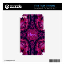 Cool Pop Magenta Lavender 'Hope'  Artistic Design Skin For iPod Touch 4G